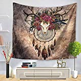 Chunoy Deer Animal Skull with Floral Horns Nature Inspired Dead and Living Art Print Bedroom Living Room Dorm Wall Hanging Tapestry Medium 59.1'' × 51.2''