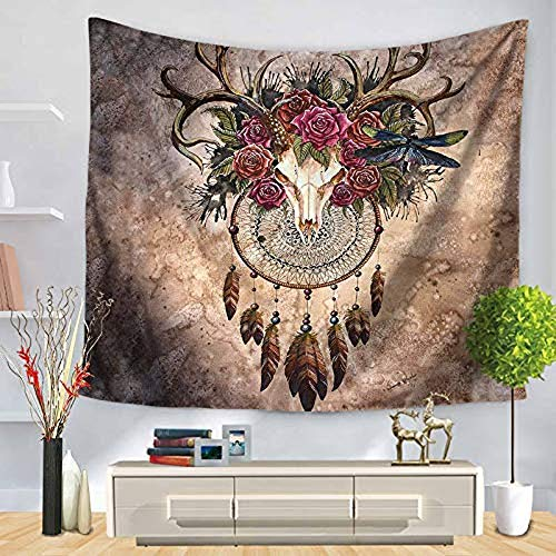 Chunoy Deer Animal Skull with Floral Horns Nature Inspired Dead and Living Art Print Bedroom Living Room Dorm Wall Hanging Tapestry Medium 59.1'' × 51.2'' by Chunoy