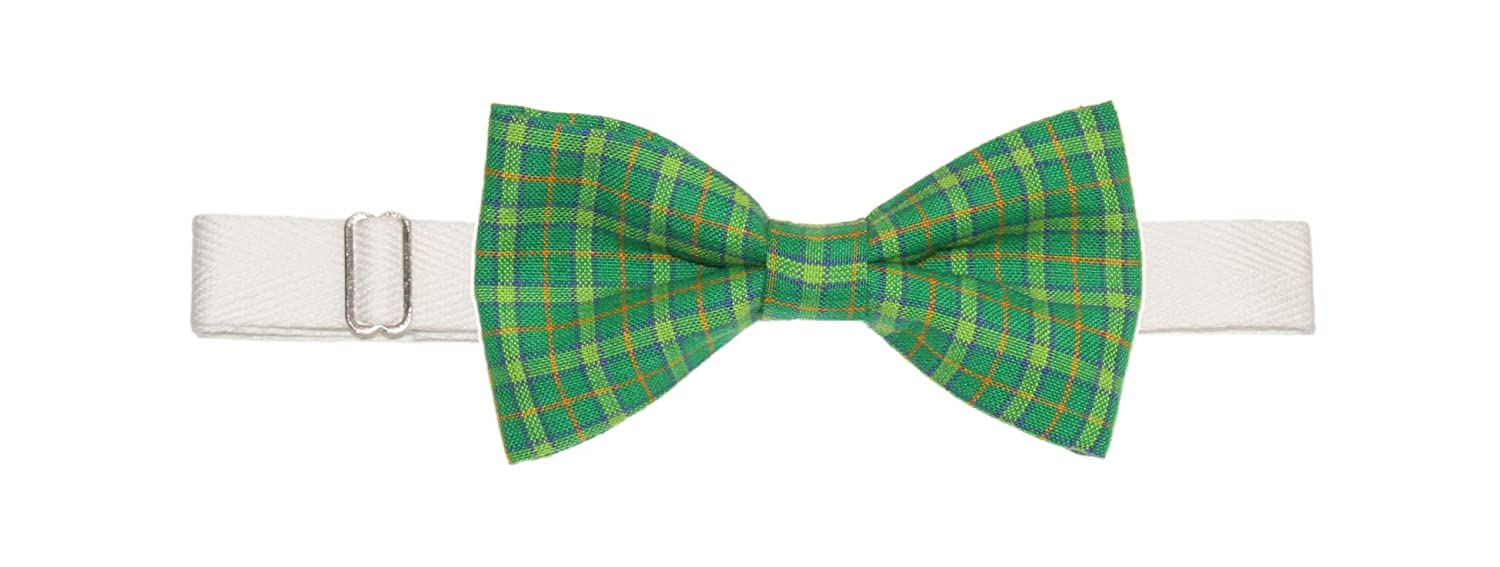 Patricks Day Mens Green Plaid Pre-Tied Cotton Bow Tie On Twill Strap St
