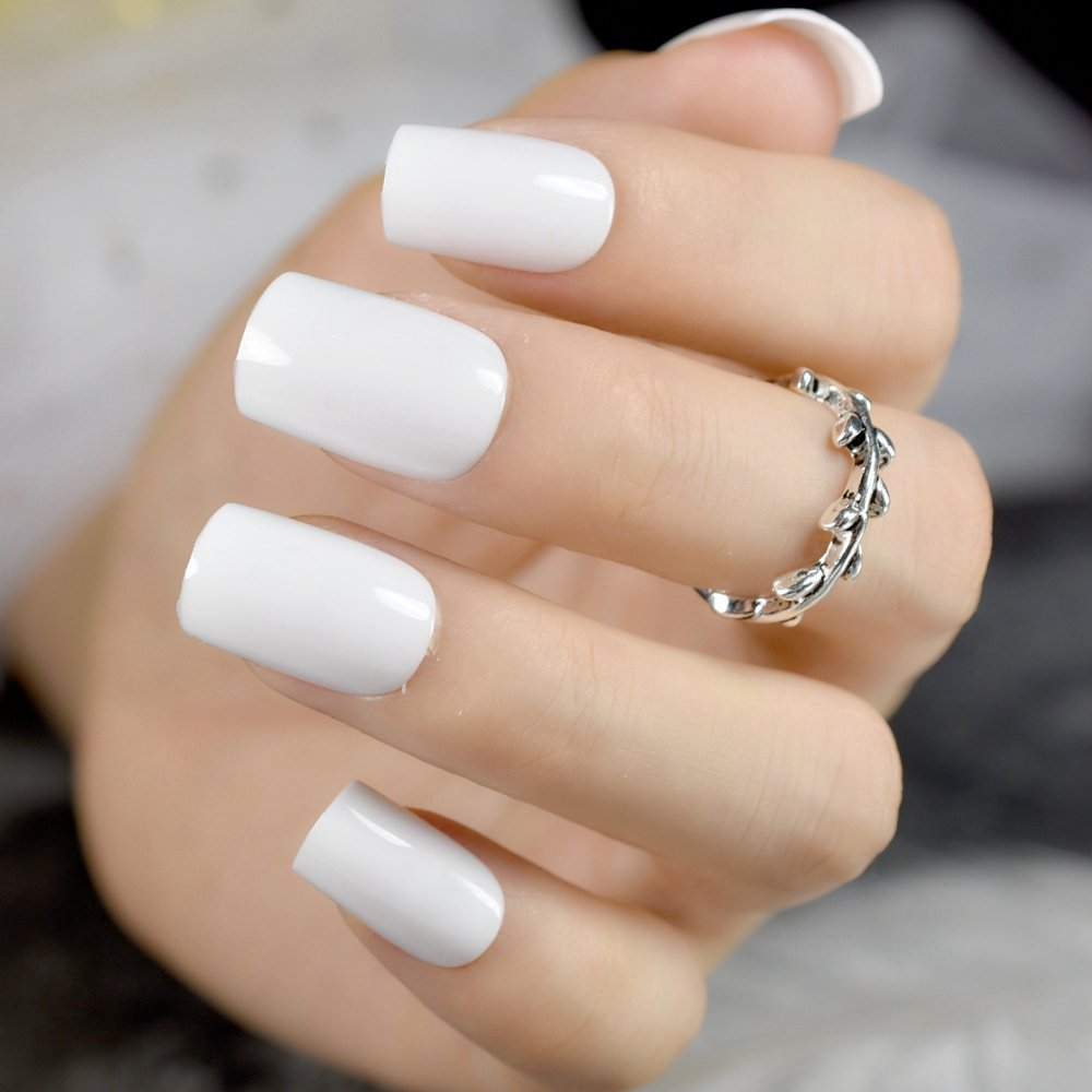 Amazon.com : CoolNail Solid White False Nails Medium Square Fake Nail DIY UV Gel Fake Nail Art Wear Nails Tips Fuax Ongles Finger Art : Beauty