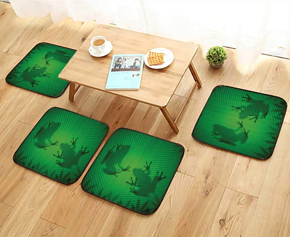 Printsonne Anti-Skid Chair Cushions Frog Shadow Silhouette The Banana Tree Leaf in Tropical Lands Jungle Light Games Health is Convenient W19.5 x L19.5/4PCS Set