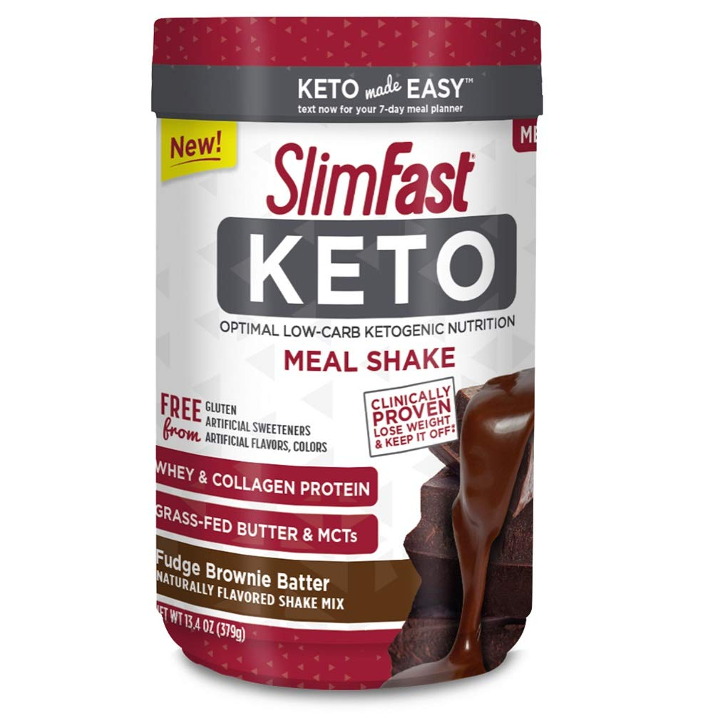 Slimfast Keto Meal Replacement Powder Fudge Brownie Batter Canister, 13.4 Ounce, Pack of 1 by SlimFast