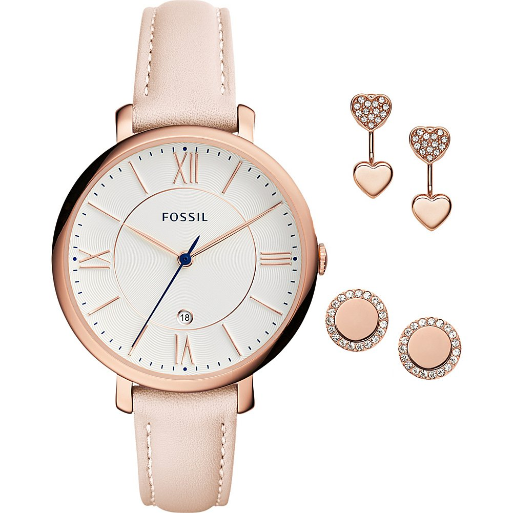 Fossil Women's ES4202SET Jacqueline Three-Hand Date Blush Leather Watch and Jewelry Box Set