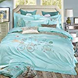 SD Top-grade Tencel 1000T 5-Piece with Embroidery Duvet Cover Set with Full Size Queen Size One Bike with Pink,White,Blue Flower and Road Pattern Lake Blue Background Palace Luxury Style