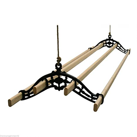 Ironmongery World Traditional Old Vintage Black Georgian Edwardian Vintage Clothes Airer Dryer Kitchen Rack Ceiling Drier 1 5m 5 Foot