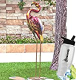 Gift Included- Outdoor Garden Multicolored Shimmering Metallic Bird Yard Sculpture Decor + FREE Bonus Water Bottle by Homecricket (Flamingo) For Sale