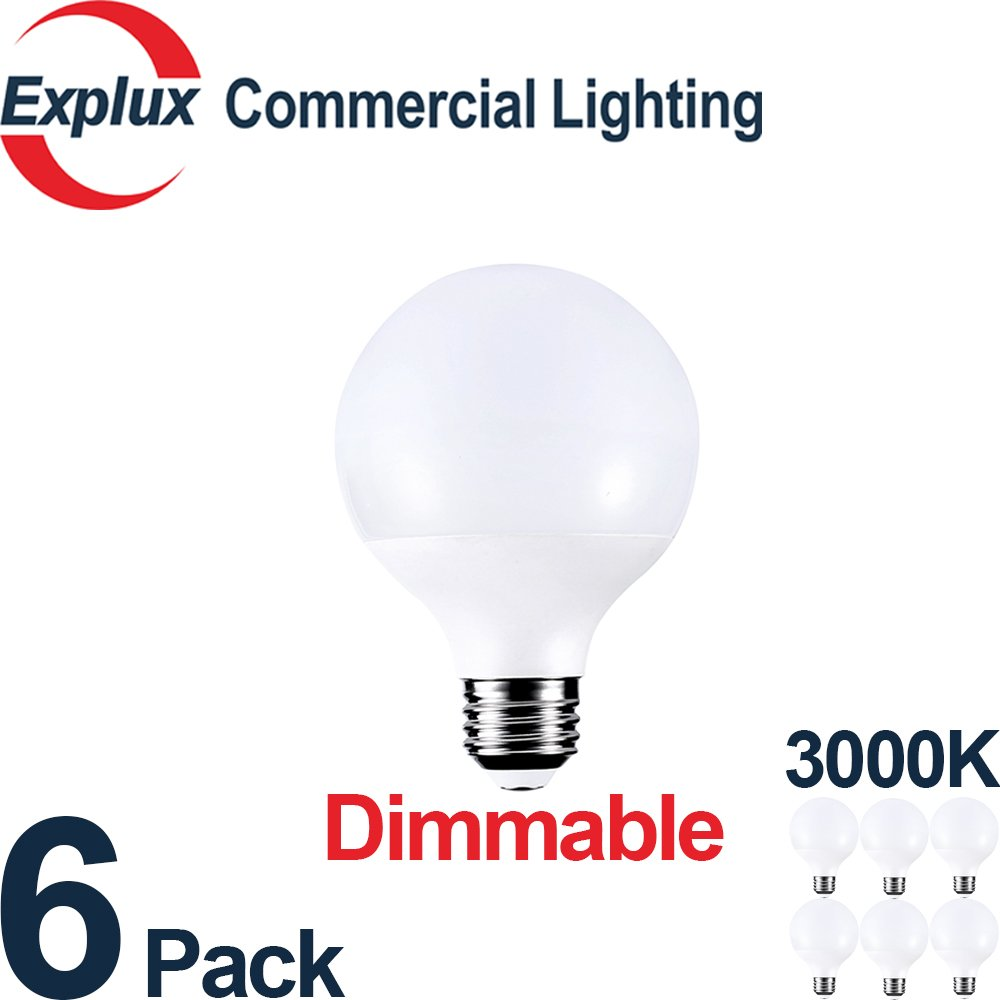 Dimmable High-Output 800 lm G25 Globe LED Bulbs, 3000K Bright White, 60W Vanity Light Bulb Replacement, 8.5W G25 LED Globe Light Bulbs, (Pack of 6)