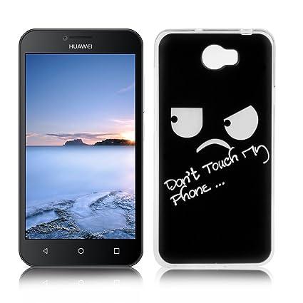 OuDu Funda para Huawei Y5 II/Y5 2 Carcasa Protectora Caso Silicona TPU Funda Suave Soft Silicone Case - Dont Touch My Phone