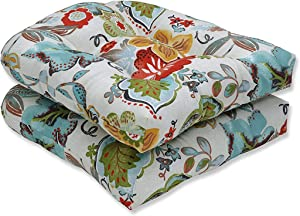 """Pillow Perfect Outdoor/Indoor Alatriste Ivory Tufted Seat Cushions (Round Back), 19"""" x 19"""", Floral, 2 Count"""