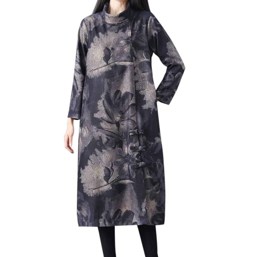 iDWZA Fashion Women Winter Loose Long Sleeve Vintage Floral Print Button Long Maxi Dress(Black,US S/CN M)