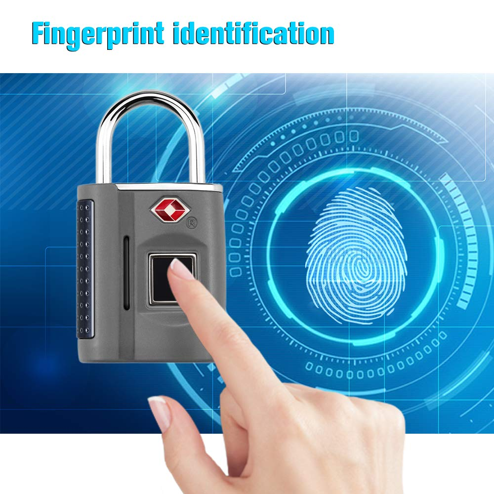 Festnight Smart Keyless Fingerprint Padlock Keyless Finger Touch Padlock Suitable for House Door Suitcase Backpack Support USB Charging