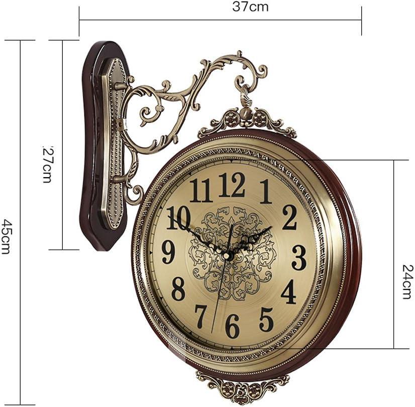 WENHSIN 16 European Luxury Classical 360/° Wall Clock Antique Design Ultra Mute Quartz Soild Wood Alloy Double Sides Clock for Living Room Clock Art Deco Red Wooden frame
