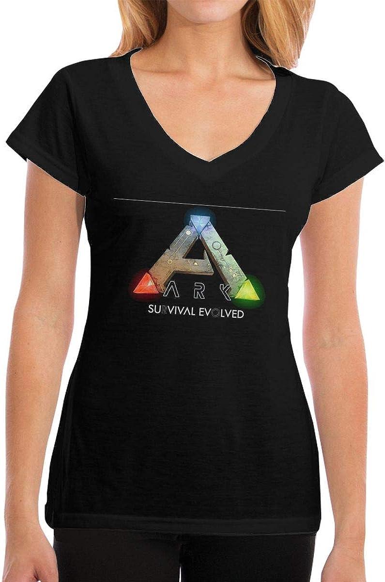 NaohBent ARK Survival Evolved Women V Collar T-Shirts Black