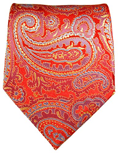 Paul Malone Extra Long Necktie 100% Silk Red Blue Paisley