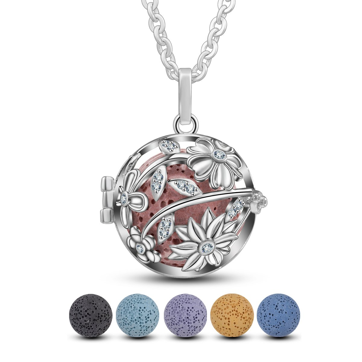 EUDORA Sunflower Locket Essential Oil Diffuser Necklace Lava Stone Necklace with 24'' Chain and 5 Lava Stone Beads