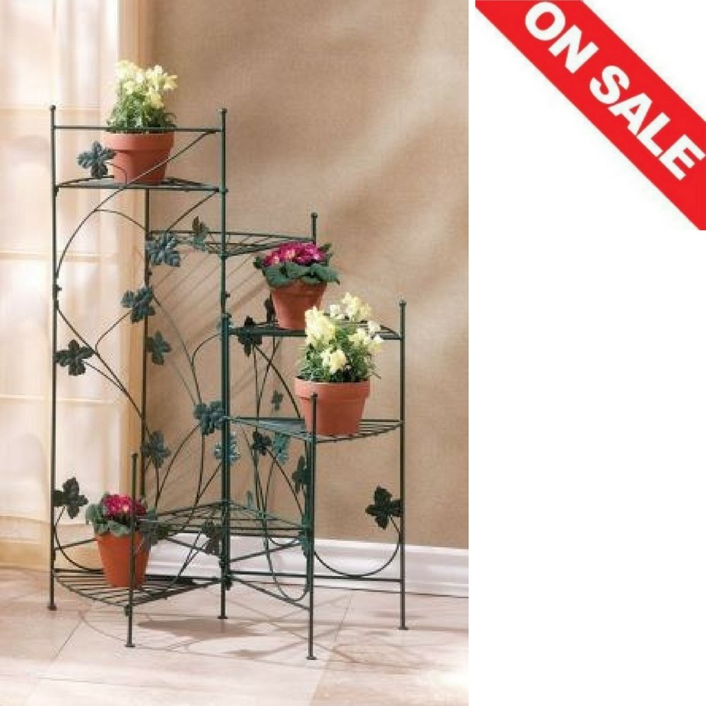 Tiered Plant Stand Planter Corner Rack Rustic Patio Unique Multiple Plants Pot Rack Metal Furniture & E book By Easy2Find by STS SUPPLIES LTD