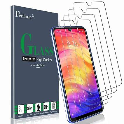 Ferilinso Vetro Temperato per Xiaomi Mi 9 Lite, Redmi Note 8, Redmi Note 7,  Redmi 8, Redmi 7, Redmi S3,[4 Pack] Pellicola Protettiva Protezione ...