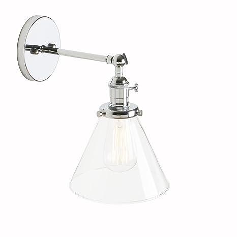 Pathson 18.5cm Aplique de Pared Pantalla Apliques de Vidrio ajustable Retro Industrial Bañadores de pared Lámpara de techo iluminación retro (bombilla ...