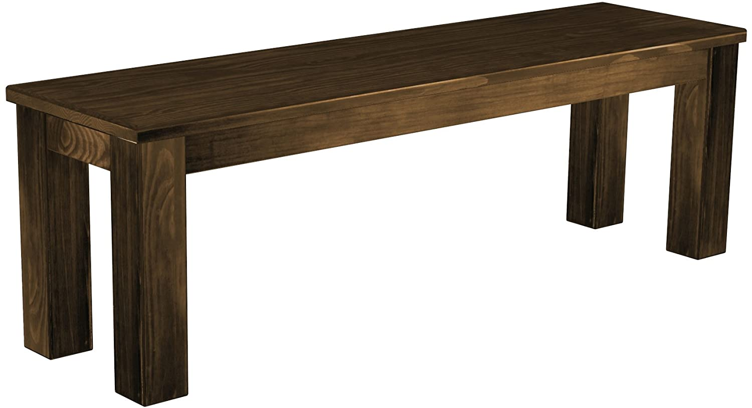 Solid Pine Bench Length 140 cm Waxed - Oiled Dark Brown