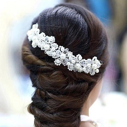 Contever® Festa di Matrimonio Capelli Gioielleria Nuziale di Cristallo  Strass Fiore Perle Decor Banda Archetto e3743ba2721d
