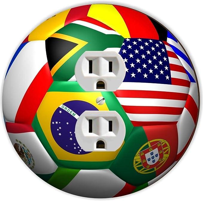 Rikki Caballero balón de fútbol diseño de bandera de mundo redondo ...