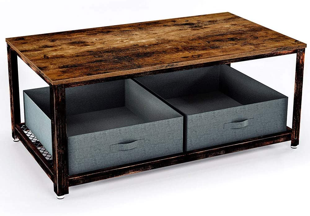 Amazon Com Rolanstar Coffee Table With Storage Bins Industrial Coffee Table With Mesh Shelf For Living Room Wood Look Accent Furniture With Stable Metal Frame Rustic Brown Kitchen Dining