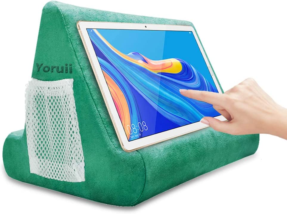 Soft Pad Pillow Stand Holder Tablet Mobile Phone Pillow Lap Stand Multi-Angle Reading Support Pillow Stand Suitable for Tablet Computer Ereader Smart Phone and Books (Green)