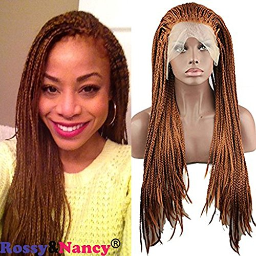 Rossy&Nancy Synthetic Golden Brown Lace Front Braided Wigs 130% High Density for Most Black Women (Brown Braided Wig)