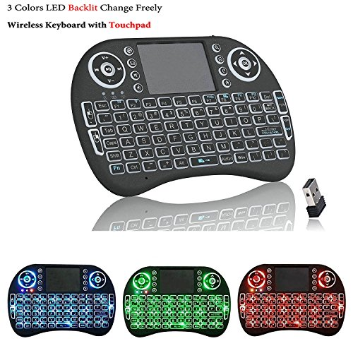 iFixe Mini 2.4Ghz 3 Colors Backlit in 1 Mini Handheld Portable Wireless Keyboard Touchpad Air Mouse Remote With Mouse For Pc, Mac, Linux, Raspberry Pi, Xbox 360, Ps3, Google Android Tv Box, Htcp, Iptv