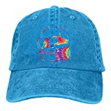 5 panel hat tie dye - Tie Dye Skull Cool Handsome Unisex Cowboy Hat Denim Baseball Cap Adjustable Washed Cotton