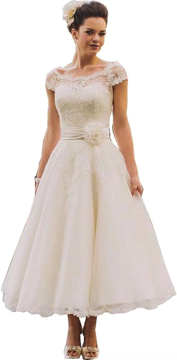 Mingxuerong Spitzen Kurz Tüll Hochzeitskleid Weiß Damen Gast Aline