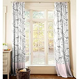 Carousel Designs Pink and Gray Woodland Drape Panel 64-Inch Length Standard Lining 42-Inch Width