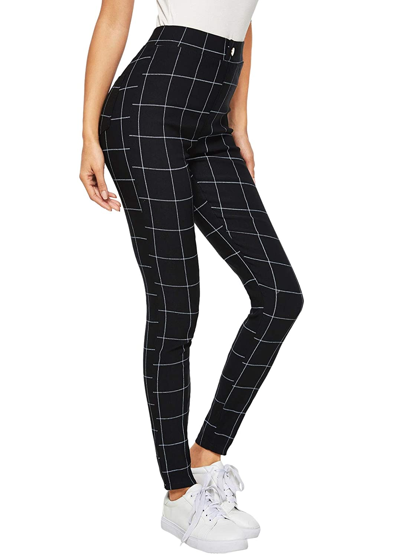 Black3 WDIRARA Women's Stretchy Plaid Print Pants Soft Skinny Regular Fashion Leggings