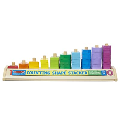 Melissa & Doug Counting Shape Stacker (Wooden Educational Toy with 55 Shapes and 10 Number Tiles, Great Gift for Girls and Boys - Best for 2, 3, 4, 5 and 6 Year Olds): Toys & Games