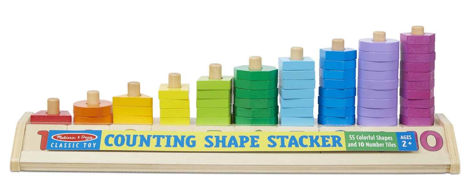 Melissa & Doug Counting Shape Stacker - Wooden Educational Toy With 55 Shapes and 10 Number Tiles 9275