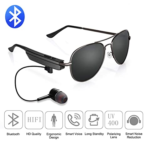 Amazon.com: Gafas de sol Bluetooth ligeras, marco de acero ...