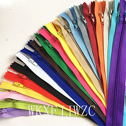 WKXFJJWZC 40pcs Mix Nylon Coil Zippers Tailor Sewer Craft (23.6 Inch) 60cm Crafter's &FGDQRS ( 20/color) by WKXFJJWZC