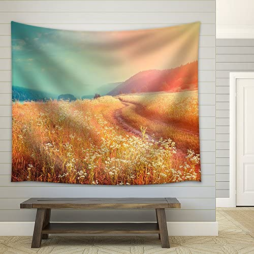 Fantastic Foggy River with Fresh Grass in The Sunlight Dramatic Unusual Scene Fabric Wall
