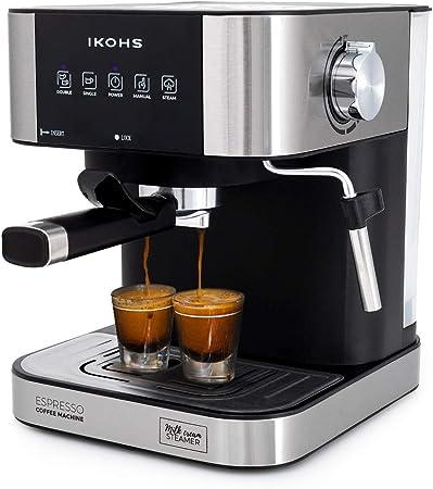 IKOHS Cafetera Expresso Automática TAZZIA - Cafetera Espress para Espresso y Cappuccino, 20 Bares, 1100 W, 1,5 litros, Vaporizador Orientable, Doble Salida, Regulador de Presión (Gris - TAZZIA Aroma): Amazon.es: Hogar