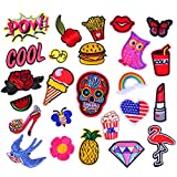Iron On Patches 25 Pcs - Embroidered Motif Applique Glitter Sequin Decoration Sew On Patches For Jeans Jacket, DIY Clothing, Handbag, Canvas Shoes,Caps