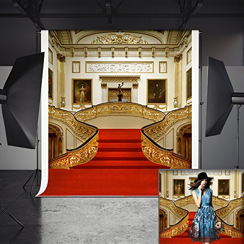 Photography Backdrop, MeeQee 5X7ft Palace Red Carpet Golden Stairs Decorate Photo Studio Pictorial Cloth Photography Background Screen for Photo, Video and Television, MQ-CO2 by MeeQee