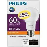 Philips LED Non-Dimmable A19 Frosted Light Bulb: 800-Lumen, 2700-Kelvin, 8.5-Watt (60-Watt Equivalent), E26 Base, Soft White, 16-Pack