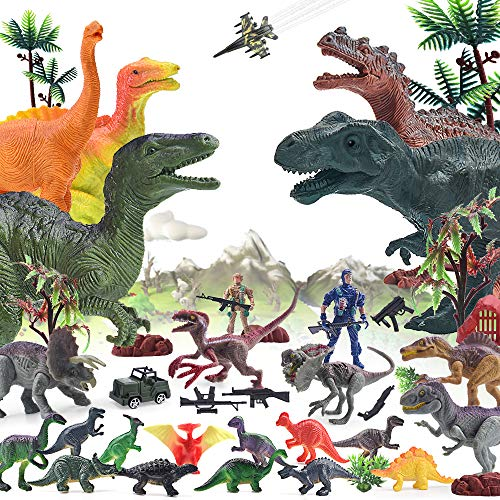 AUNOOL Dinosaurs Toys for Boys - 42Piece Plastic Dinosaurs Figures, Kids Dinosaurs Toys Military Toys and Dinosaur Toy Set