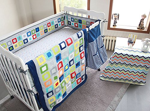 NAUGHTYBOSS Baby Bedding Set Cotton 3D Embroidery Colorful Tetris Quilt Bumper Mattress Cover Urine Bag Blankets 9 Pieces Multicolor by NAUGHTYBOSS (Image #2)