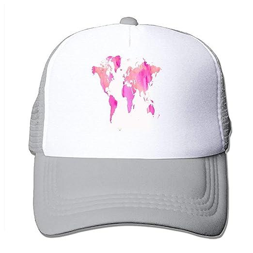 571131fa AUUOCC Top Level Baseball Cap Men Women - Classic Adjustable Hat,  Watercolor World Map Custom