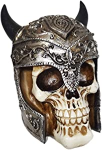 Gothic Human Skull Décor Figurine for Desk or Shelf with Gold and Silver Accents Helmet with Horns and Gift Box Set