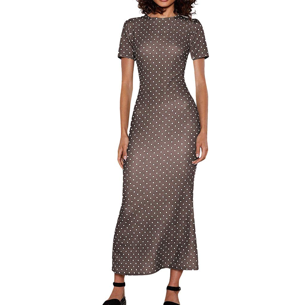 Pervobs Women Short Sleeve O Neck Polka Dots Mermaid Dress Summer Bodycon Holiday Sundress(US:12, Coffee) by Pervobs Dress (Image #1)