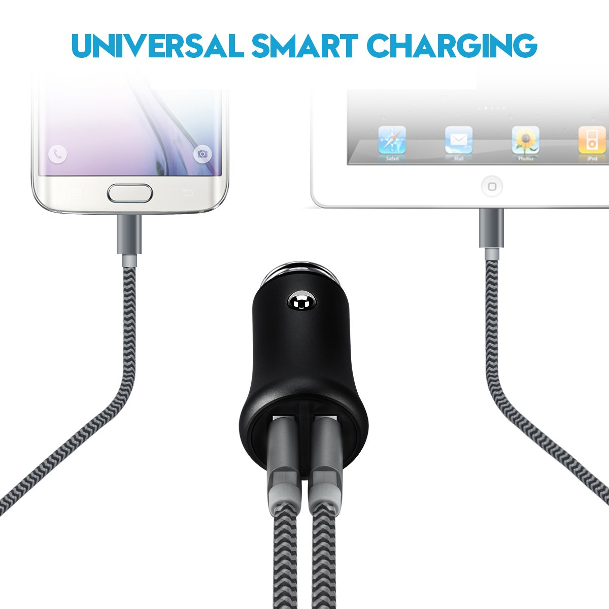 Amazon.com: USB Car Charger, Shnvir Dual Port Car Charger Adapter 2.4A for iPhone X, 8, 7, 6s, 6 & Plus, iPad, Samsung Galaxy S7, S8, Note 8, ...