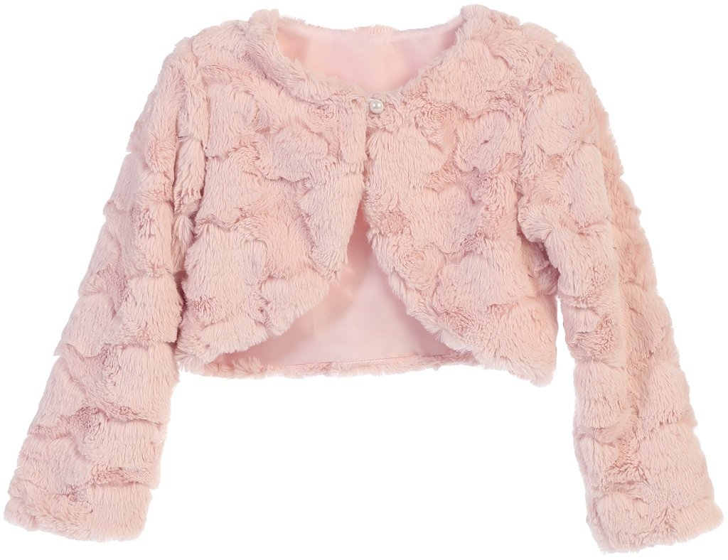 Big Girls' Faux Fur Cloud Design Flower Girl Bolero Sweater Jacket Cover Blush 12 (SC3K7)