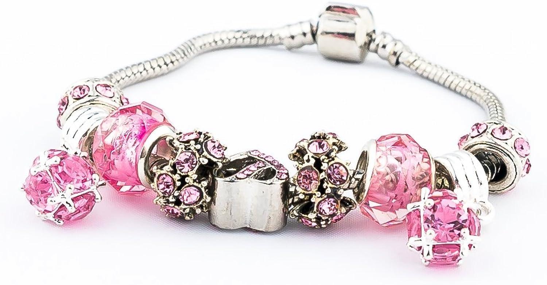 Pink Heart Beads Sliver Plated Snake Chain Charm Strand Bracelet
